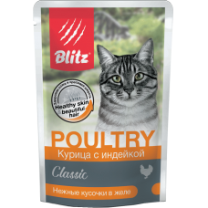 """Blitz: wet food for adult cats """"Chicken with turkey"""" - tender slices in jelly 85 g"""